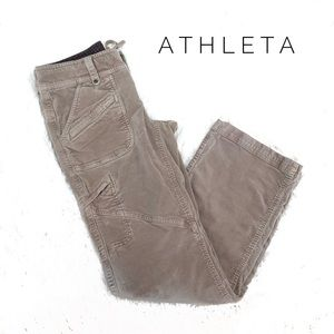 {Athleta} Duster hiking Pants in Taupe velvet sz 8